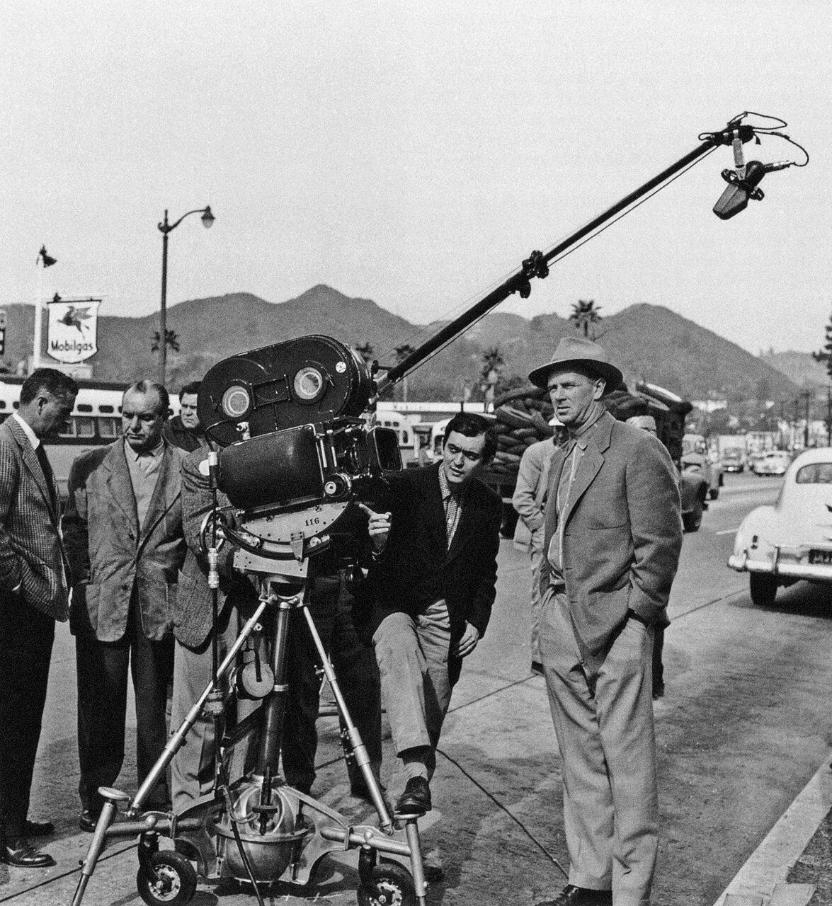 1956. Стэнли Кубрик на съемках фильма «Большой куш»