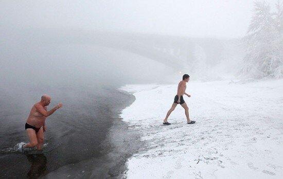 купание в ледяной воде