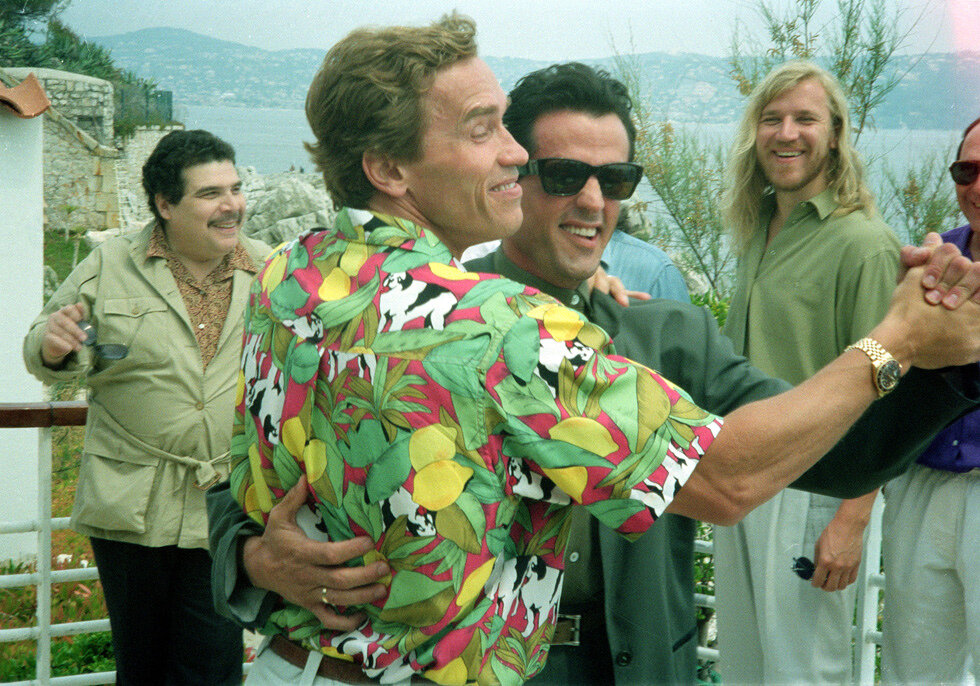 Stallone and Schwarzenegger,Cannes Film Festival 1990
