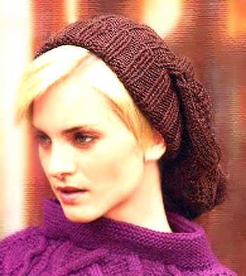 Молодежный Шик - вязаная шапка с косами, шапка-мешок.