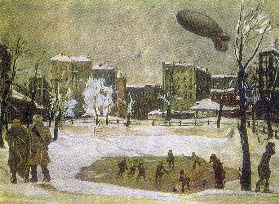 Дейнека. 1946-47 Вечер. Патриаршие пруды.
