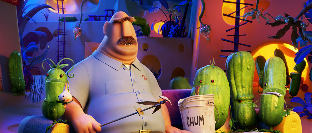 Tim Lockwood (James Caan) with the Pickles in Sony Pictures Animation's CLOUDY WITH A CHANCE OF MEATBALLS 2.