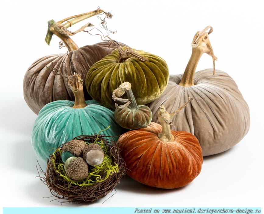 ТЫКВА-МАРИН,бархатные тыквы в цветах моря, бирюзовый, декор, интерьер, украшение для интерьера, тыквы-дизайн, осень