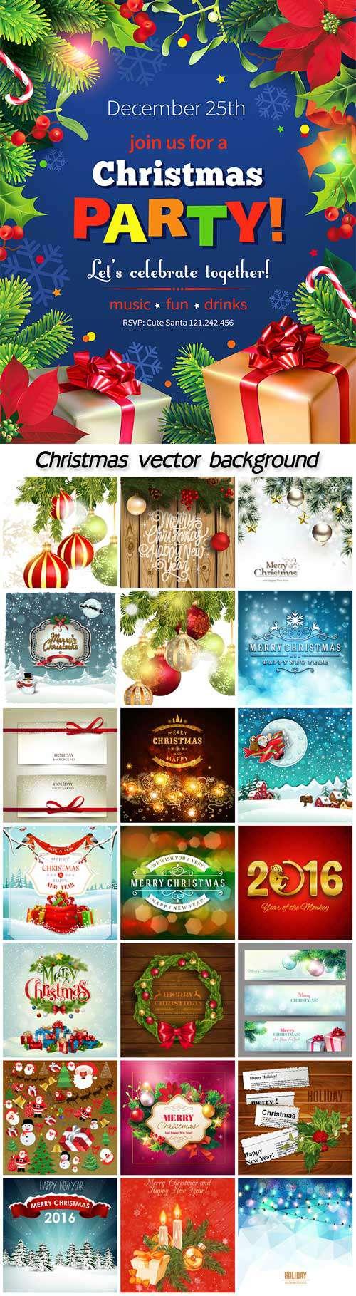 Новый год и Рождество - Фоны, векторная иллюстрация