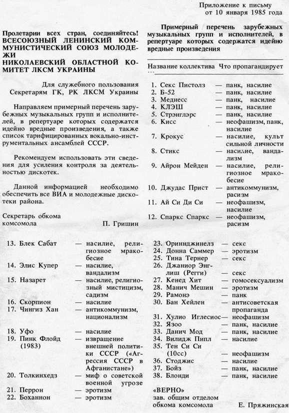 Советская цензура против вредоносной музыки