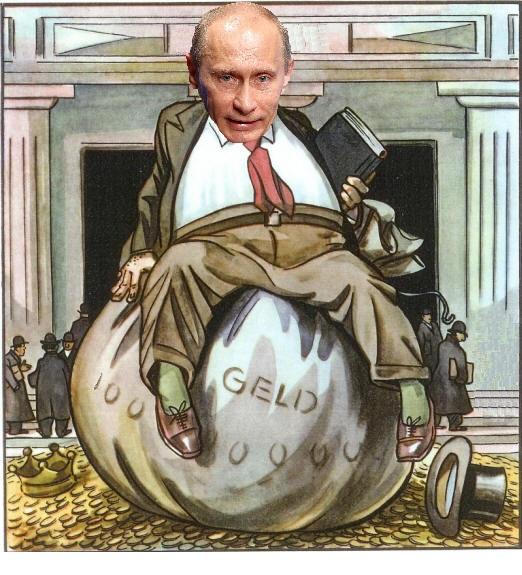 Путин на мешке с деньгами