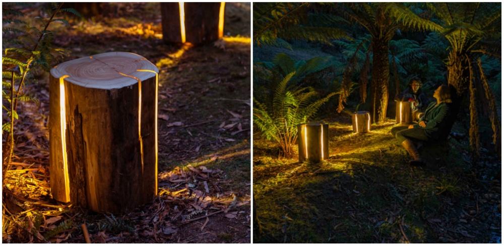 Каждый изэтих светильников уникален— просто потому, что это самые настоящие пни излеса, втрещины