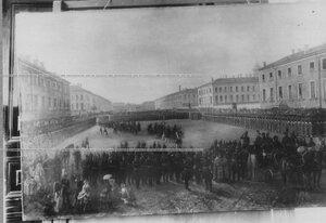 Картина, изображающая парад полка.