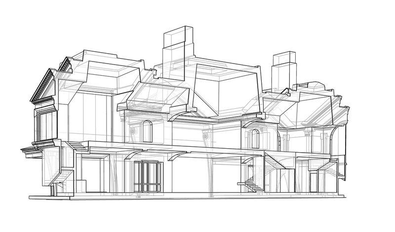 Продольный разрез Классический дом с флигелем Mod 73-638 04 0033