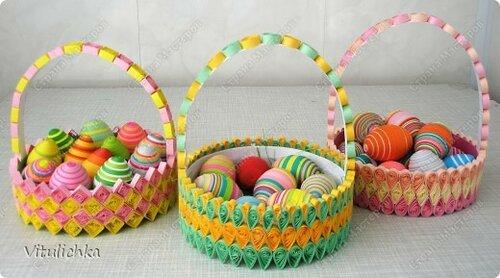 Квиллинг - пасхальная корзина с яйцами