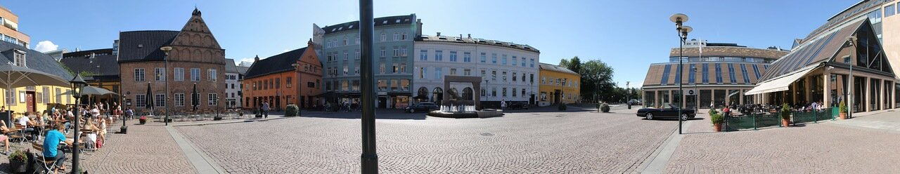 Oslo, Christiania square (Christiania Torv). panorama