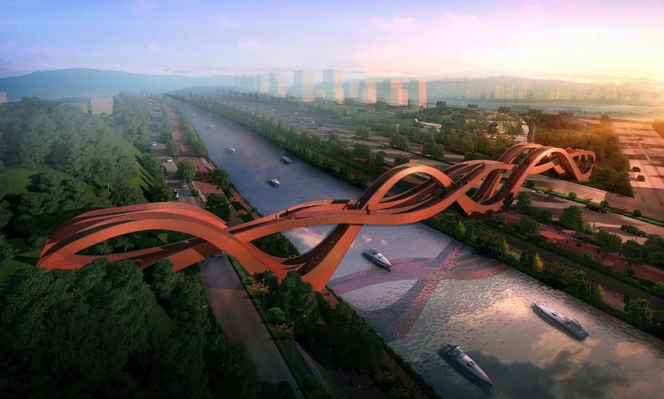 Пешеходный мост Dragon King Kong Bridge находится в китайском городе Чанша (Changsha). Изгибы моста