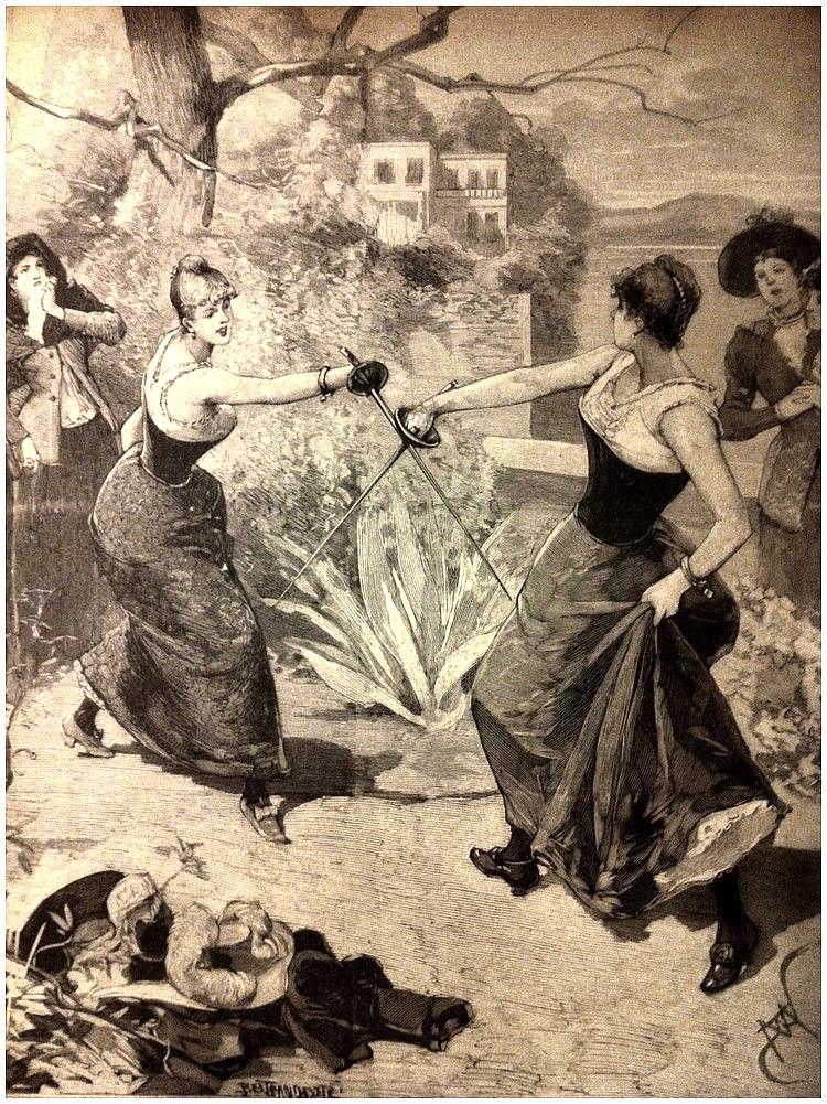 Дуэль на поляне. Шарль Кро Пик моды на дамские дуэли пришелся на середину XVII века. Во Франции