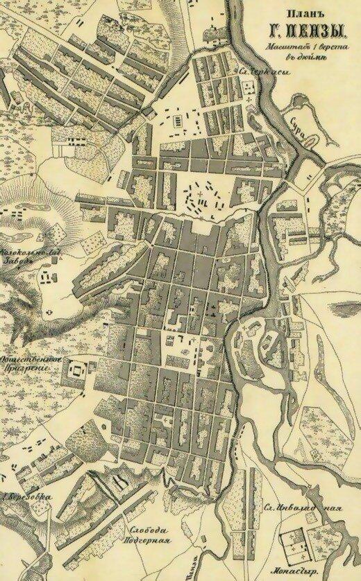 Карта Пензы 1871 г.