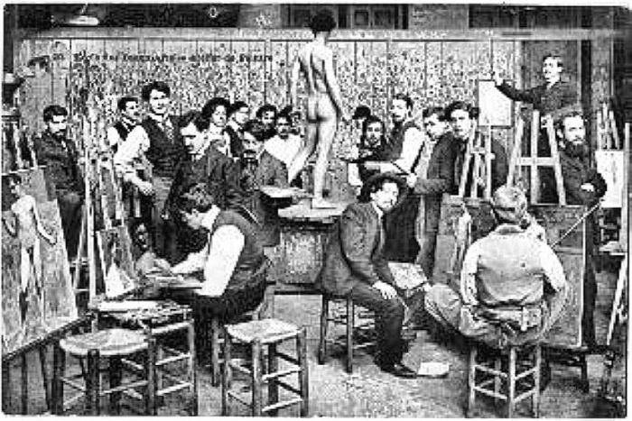 Students painting from life at the École. Photographed late 1800s