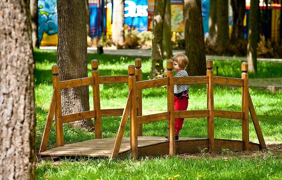 мост парк девочка ребенок трава