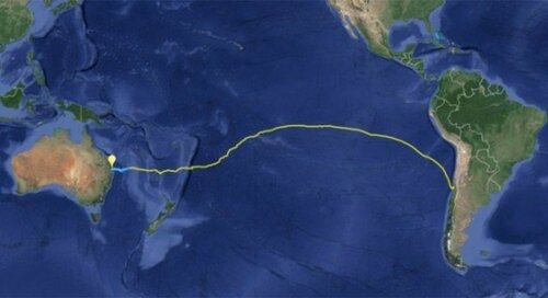 Чили - Австралия, маршрут по карте