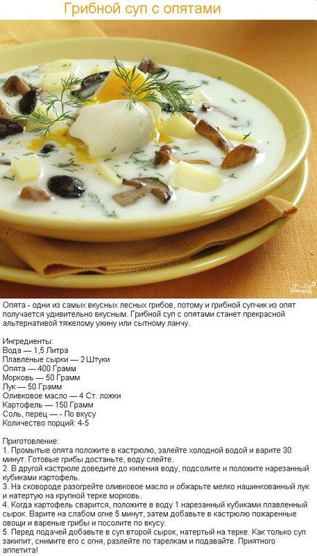 Сырный суп с опятами рецепт с фото