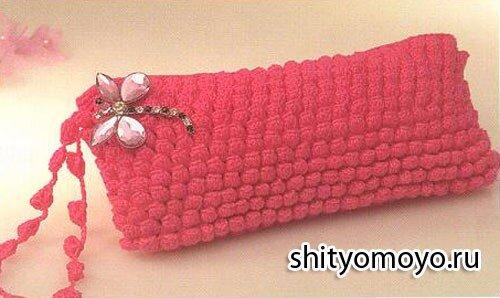 ab95a52daba2 Бесплатные модели и схемы вязания крючком: розовый клатч узором попкорн
