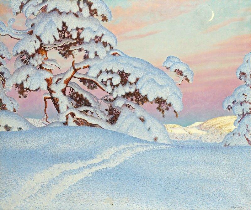 Gustaf Fjaestad. Солнце и тень на горах. 1927.jpg