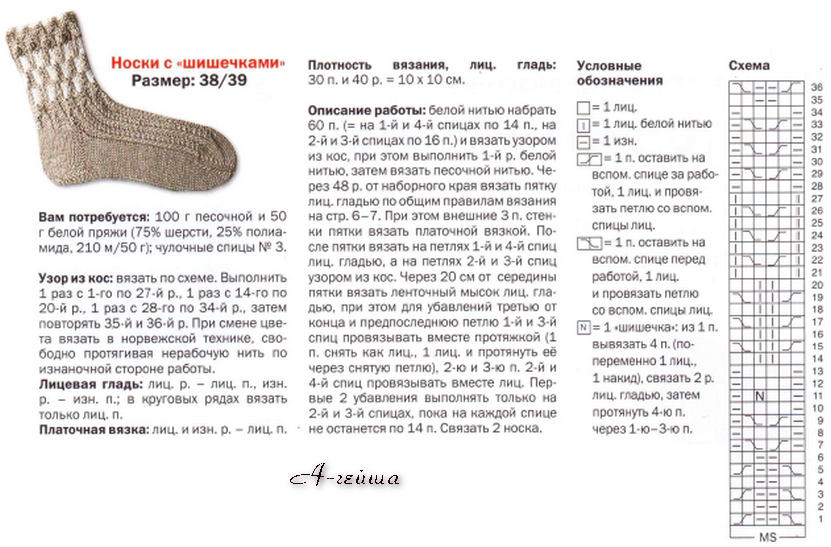 Описание вязания носков спицами на ребенка