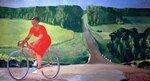Колхозница на велосипеде (худ. А. Дейнека, 1935)