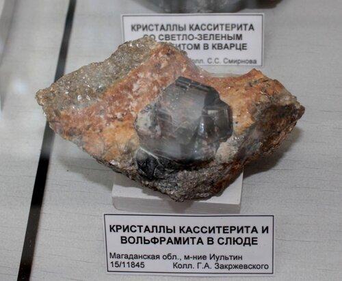 Кристаллы касситерита и вольфрамита в слюде