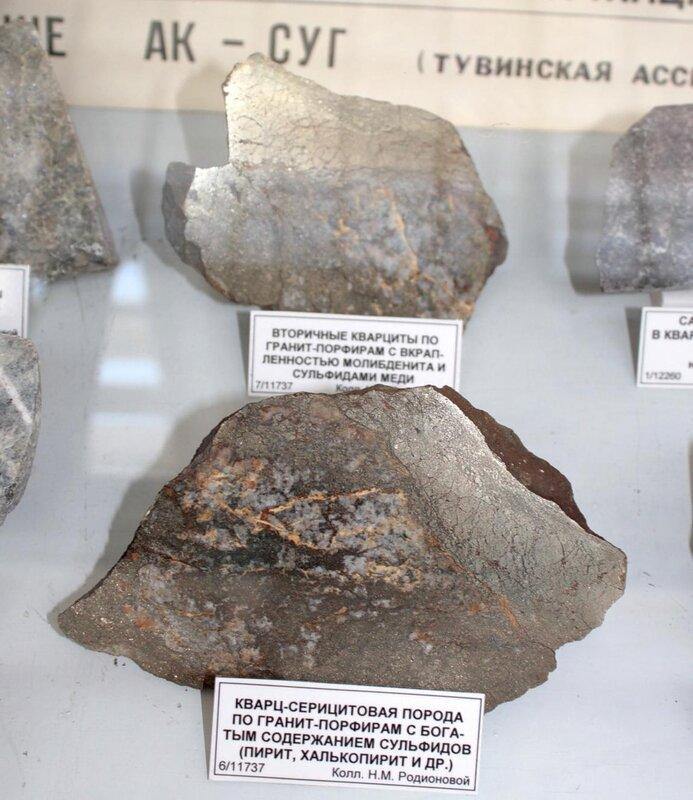 Вторичные кварциты по гранит-порфирам с вкраплённостью молибденита и сульфидами меди; кварц-серицитовая порода по гранит-порфирам с богатым содержанием сульфидов (пирит, халькопирит и др.)