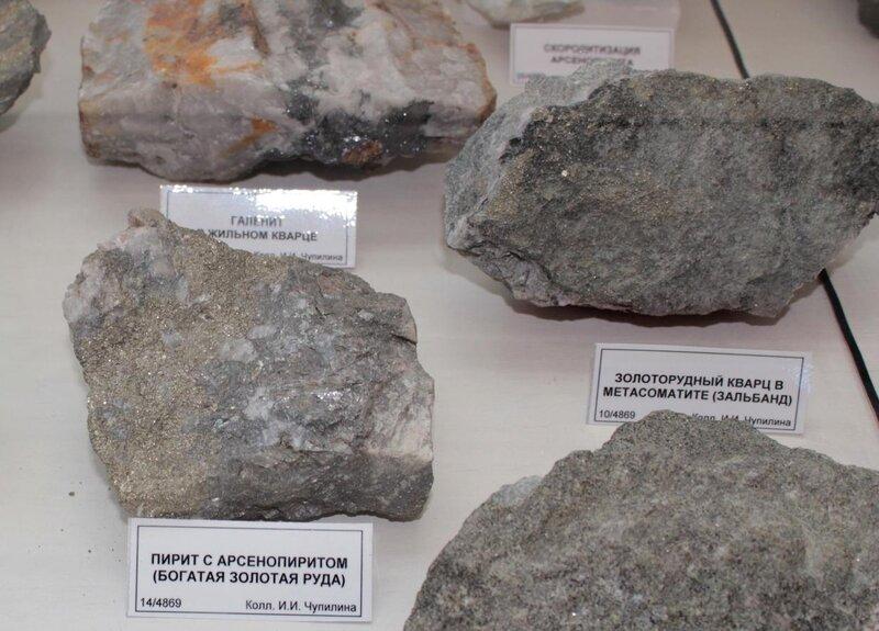 Галенит в жильном кварце; пирит с арсенопиритом (богатая золотая руда); золоторудный кварц в метасоматите (зальбанд)