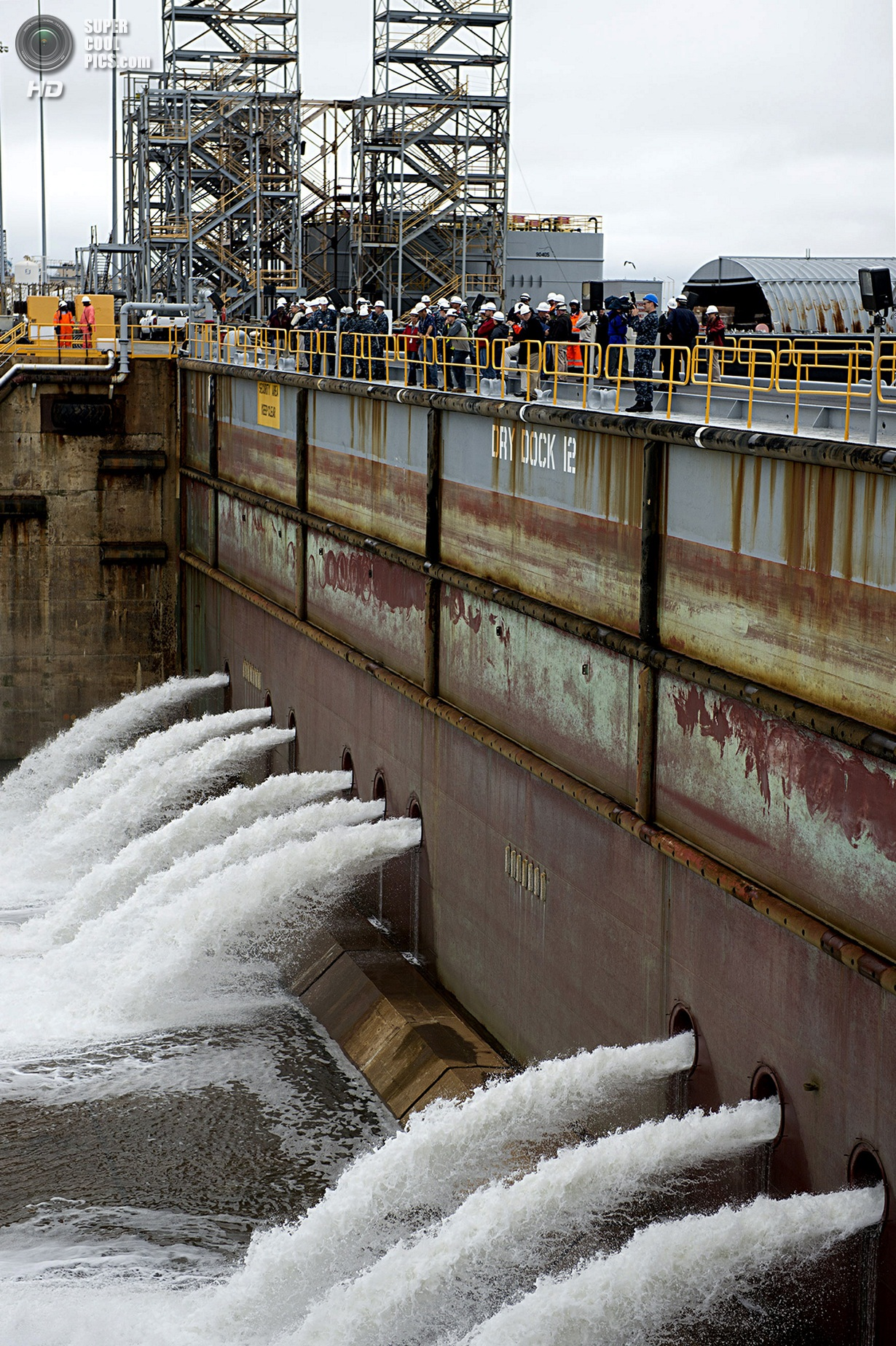 Newport News Shipyard Floods Dry Dock