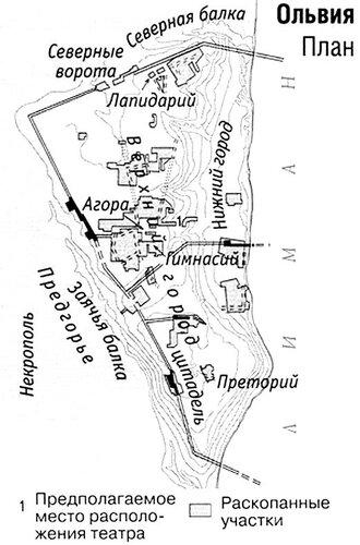 Греческий город Ольвия, карта