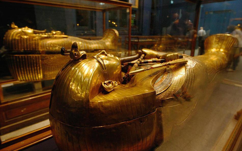 One of King Tutankhamun's gold sarcophag