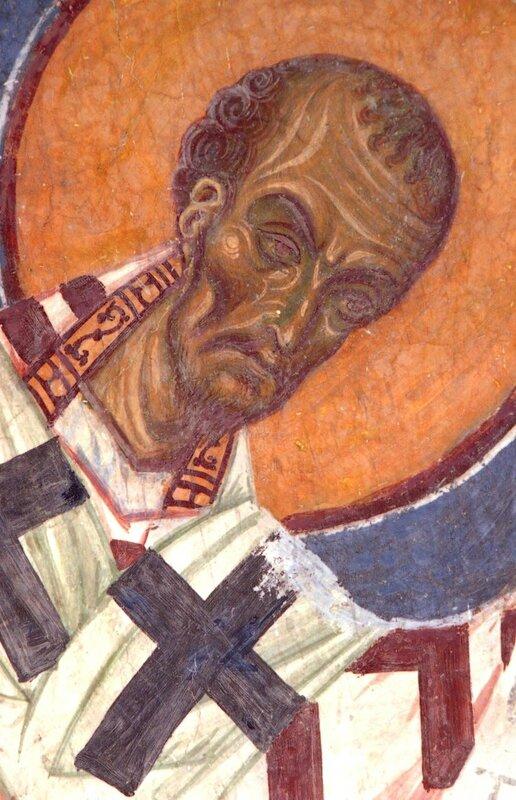 Святитель Иоанн Златоуст, Архиепископ Константинопольский. Фреска церкви Св. Пантелеимона в Нерези, Македония. 1164 год.
