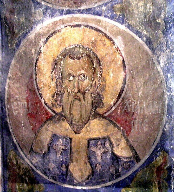 Священномученик Харалампий, Епископ Магнезийский. Фреска монастыря Раваница, Сербия. 1380-е годы.