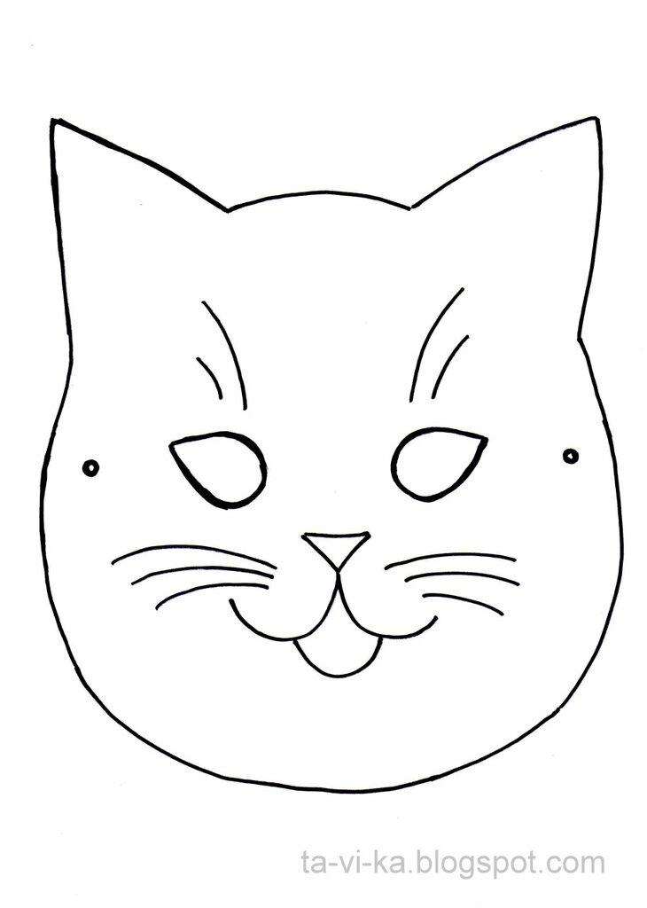 шаблон маски кошки скачать