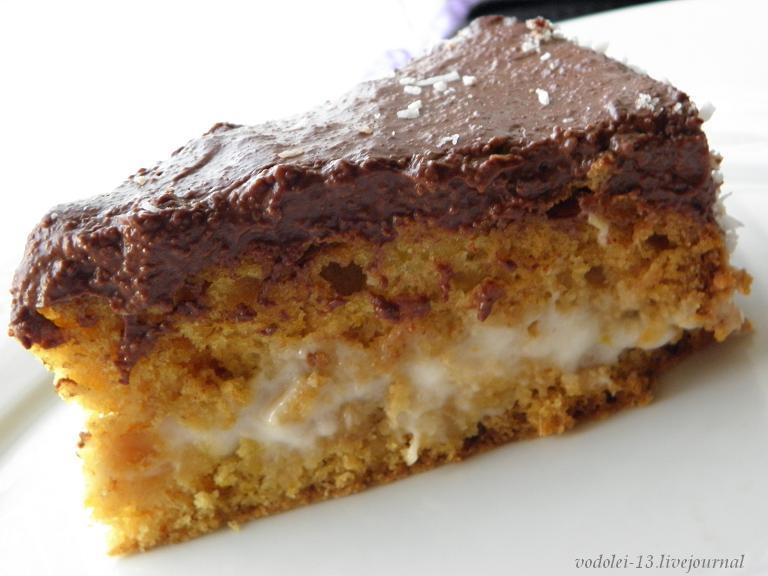 Постный торт с коксовым  и шоколадным кремом