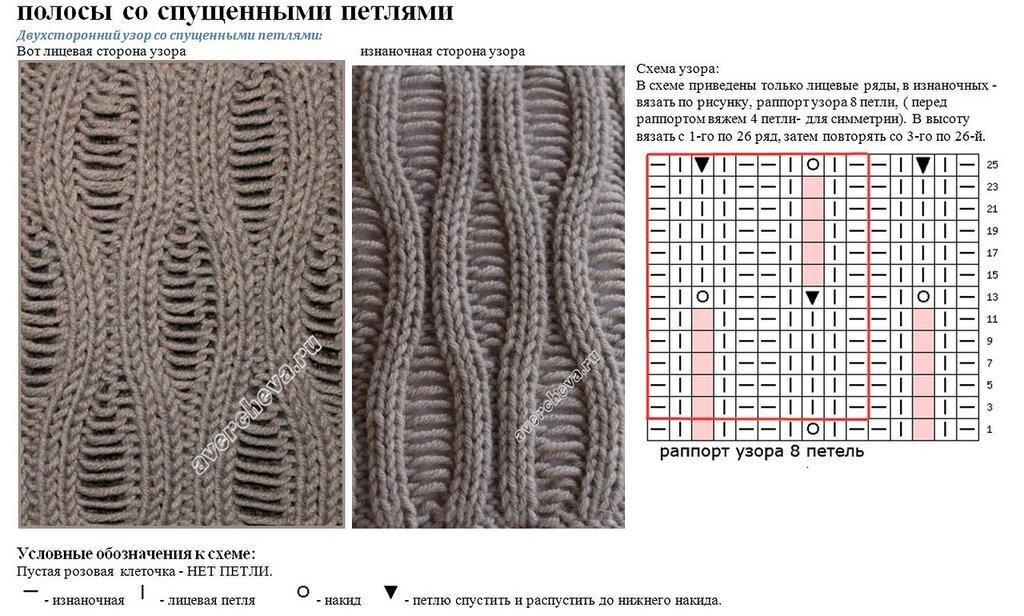 Вязание спицами узоры с протяжками схемы 15