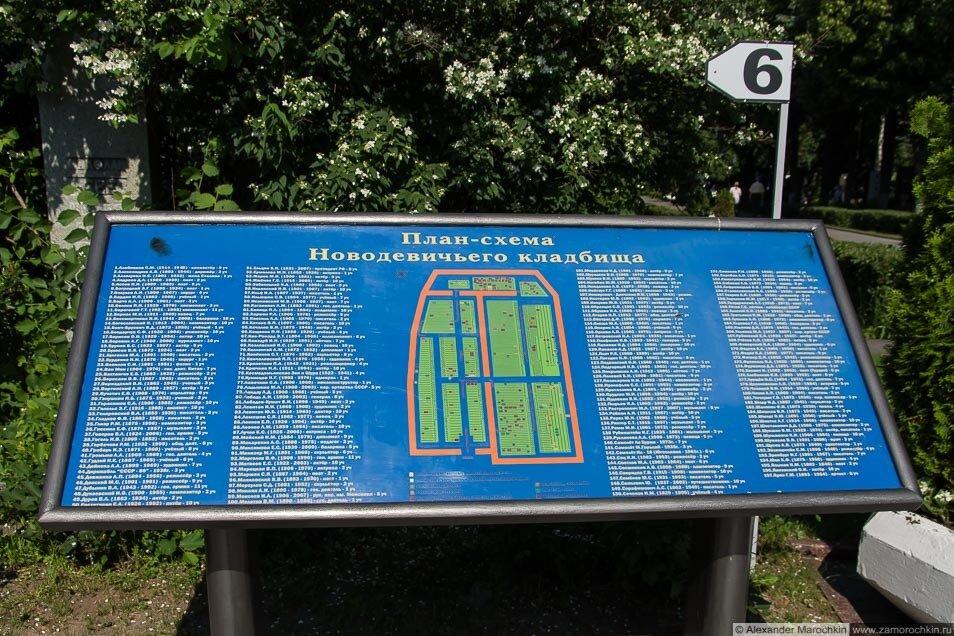 План-схема Новодевичьего кладбища
