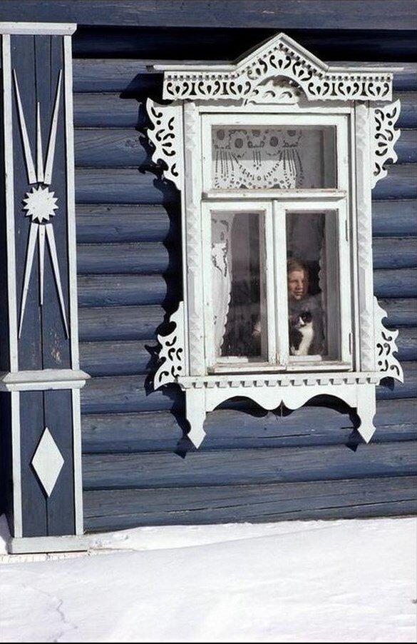 Мальчик и кот в окне русской избы