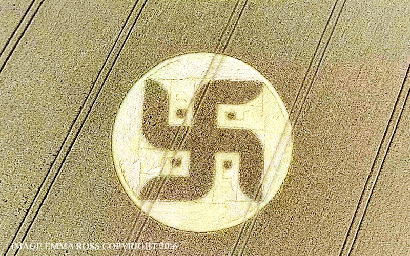 The swastika or a solar symbol, Crop Circles England August 27, 2016
