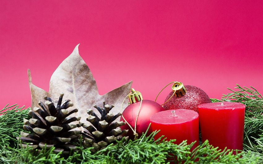 Новый год, новогодние свечи, украшения