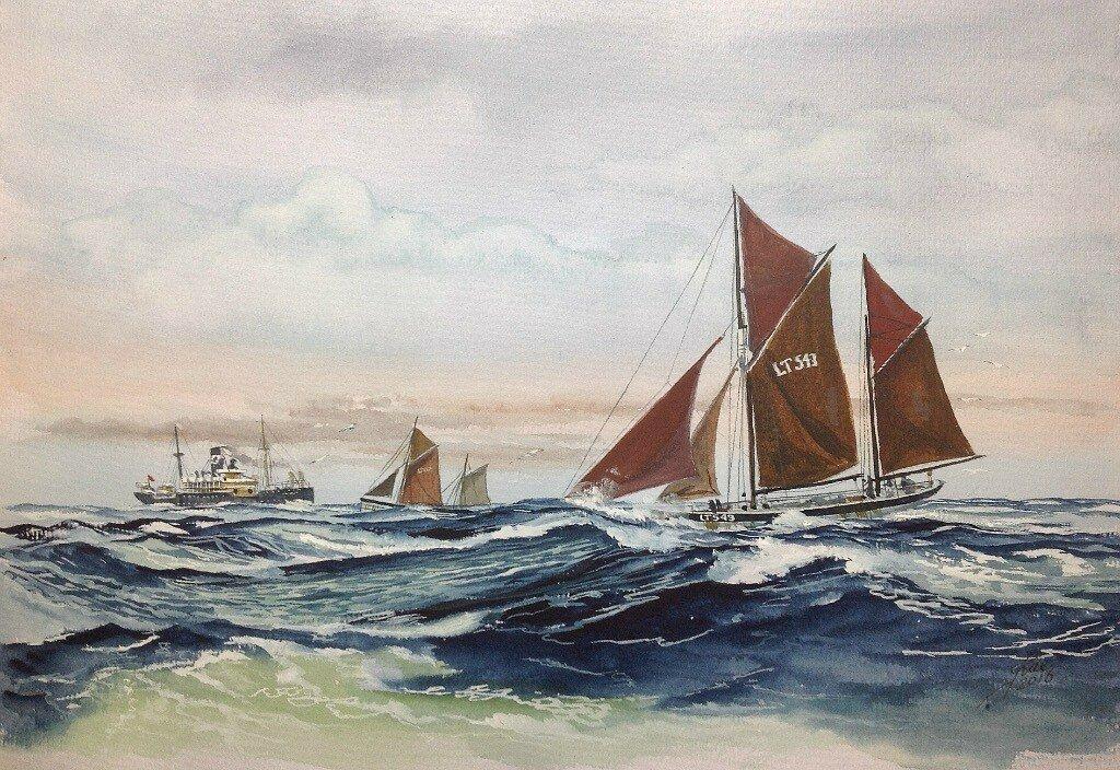 Two sailing trawlers pass the SS Waratah. Waratah disappeared in 1908.