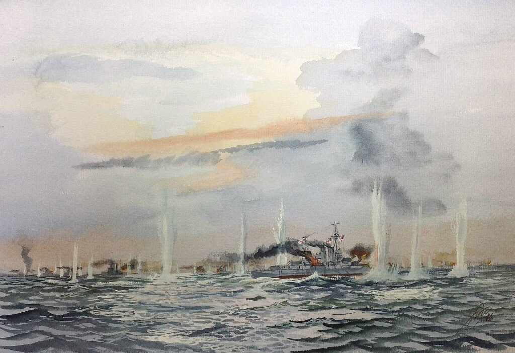 Battle of Jutland. HMS Warspite with her stealing gear jammed circles out of line under concentrated fire from the German Highseas Fleet.