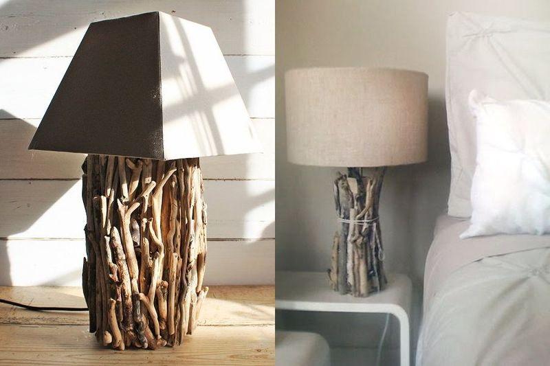 13. Сухие ветви способны придать особый шик настольным лампам. Они станут отличным дополнением интер