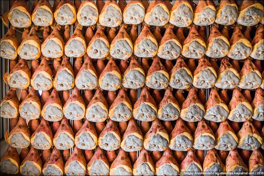 17. Интересно, что на многих предприятиях по производству пармской ветчины висят не только окорока с