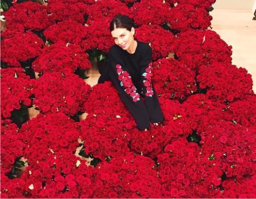 Анна Седокова похвасталась множеством цветов— млн. алых роз