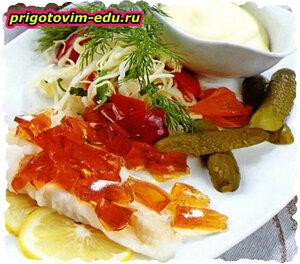Отварная рыба с соевым желе