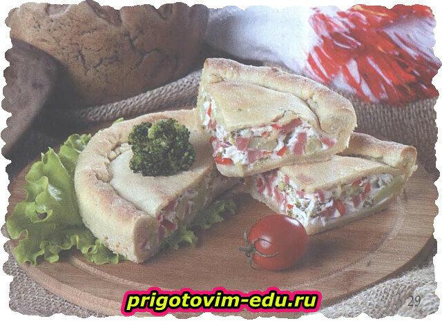 Творожный пирог с брокколи и ветчиной