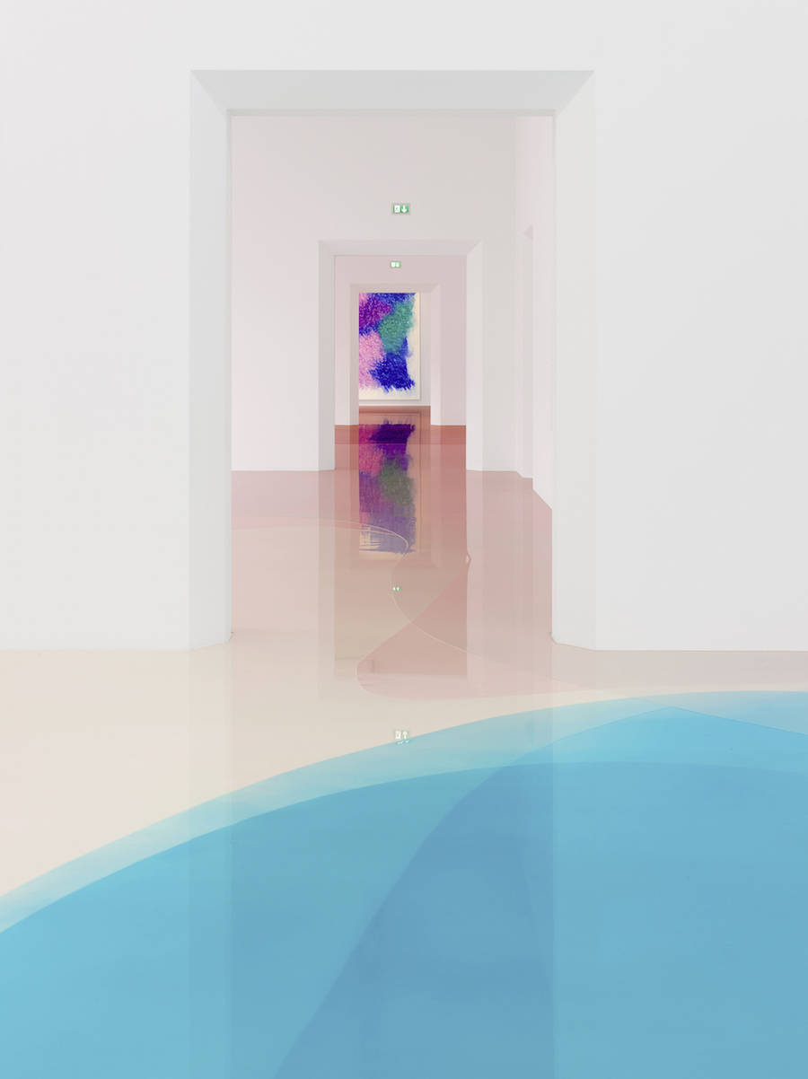 Flood-Like and Colorful Floor in an Exhibition