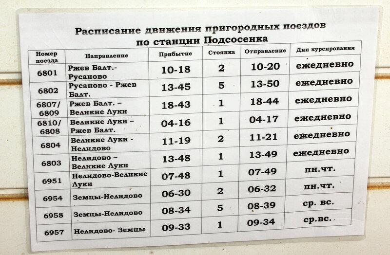 Расписание движения поездов по станции Подсосенка